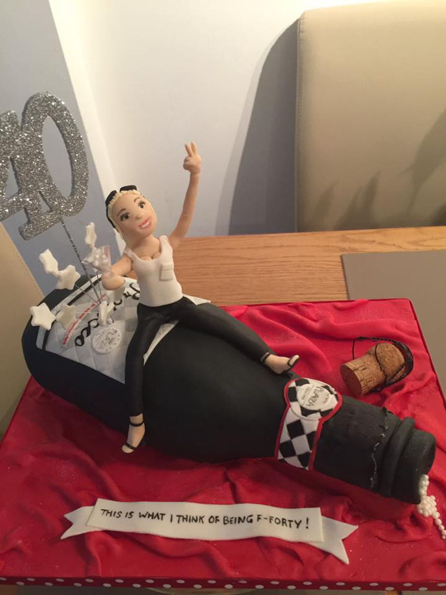Prosecco Bottle 40th Birthday Cake With Figure