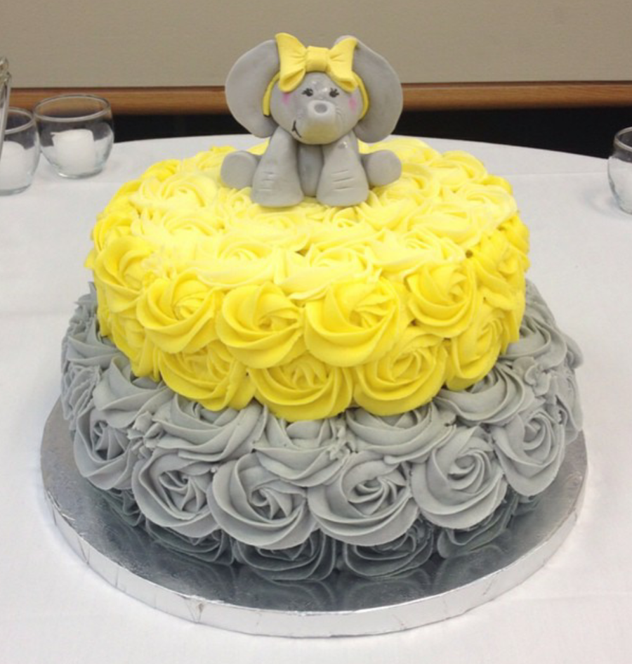 Yellow And Grey Elephant Baby Shower Cake CakeCentralcom
