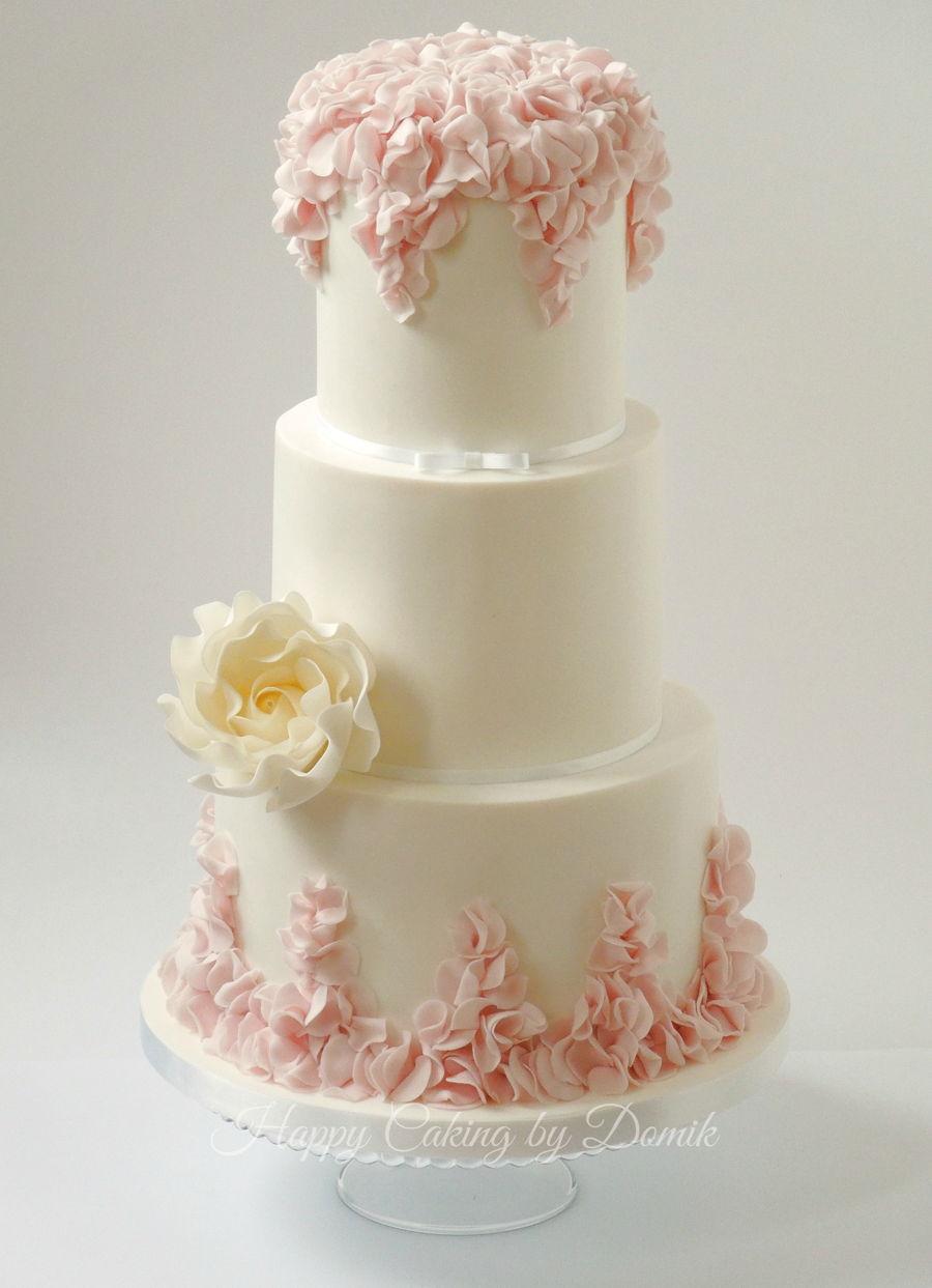 Ruffles Rose Wedding Cake