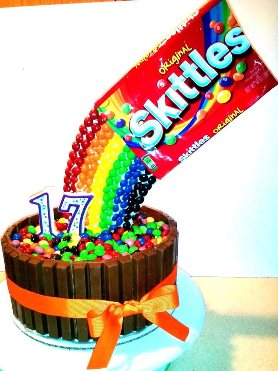 Skittles Rainbow Birthday Cake With Kitkats Cakecentral Com
