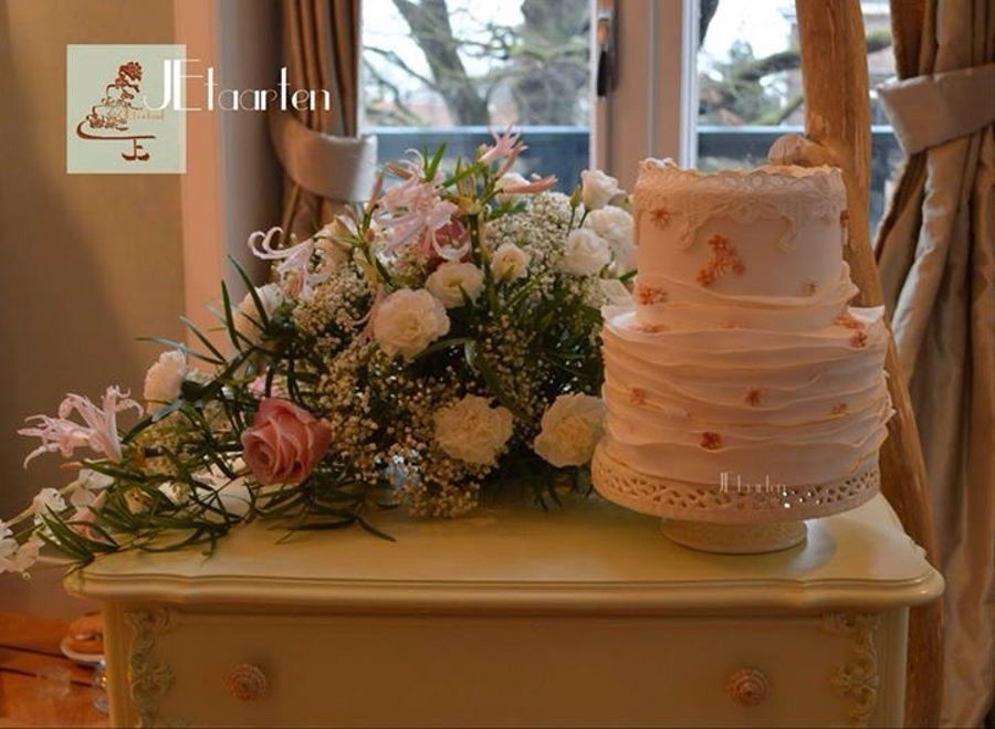Spring Weddingcake With Lace And Ruffles on Cake Central