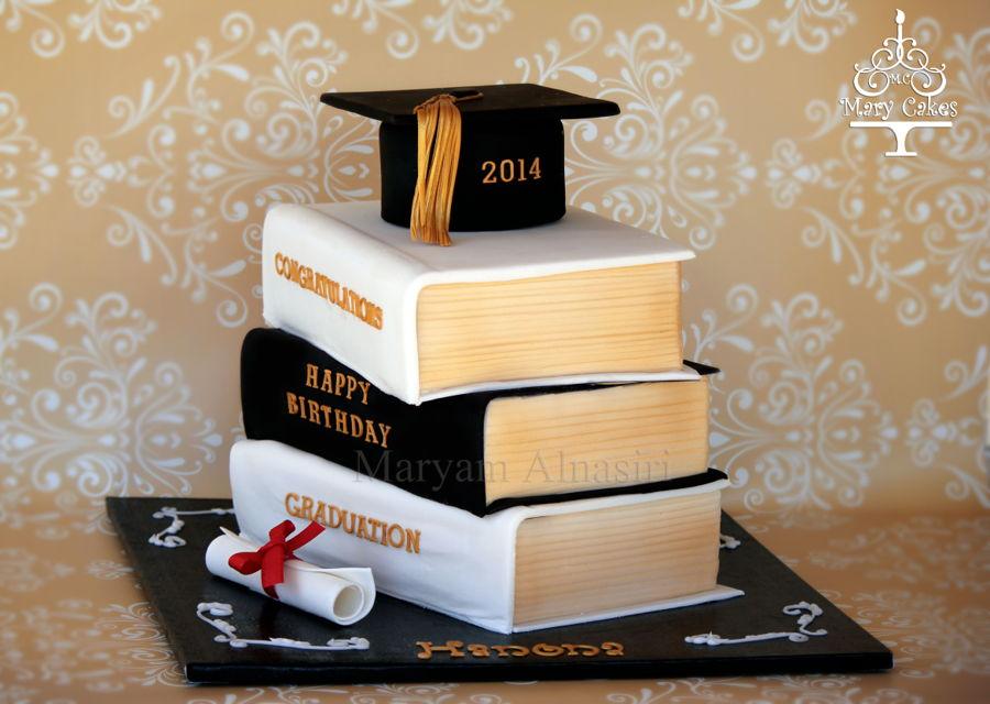 Stacked Books Graduation Cake - CakeCentral.com