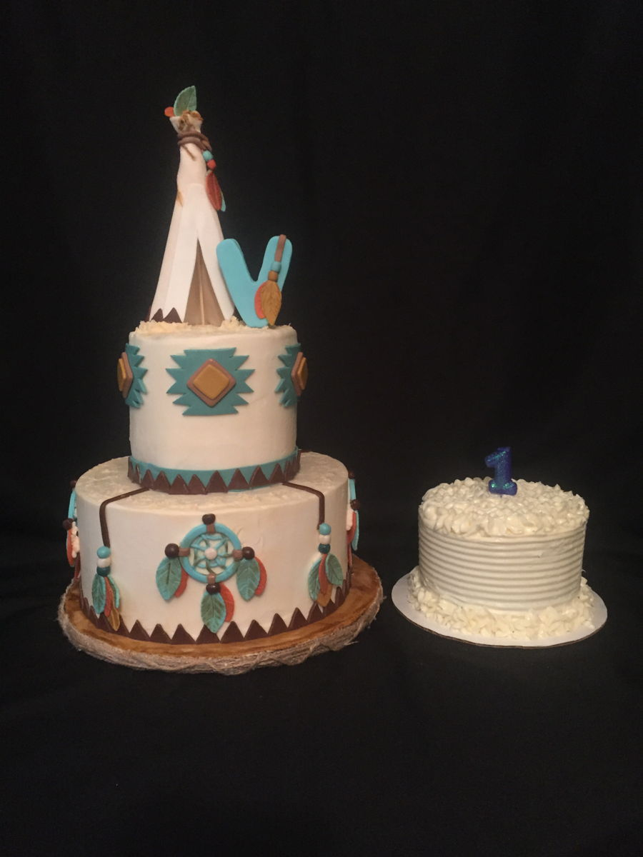 Teepee First Birthday Party Cake With Smash Cake