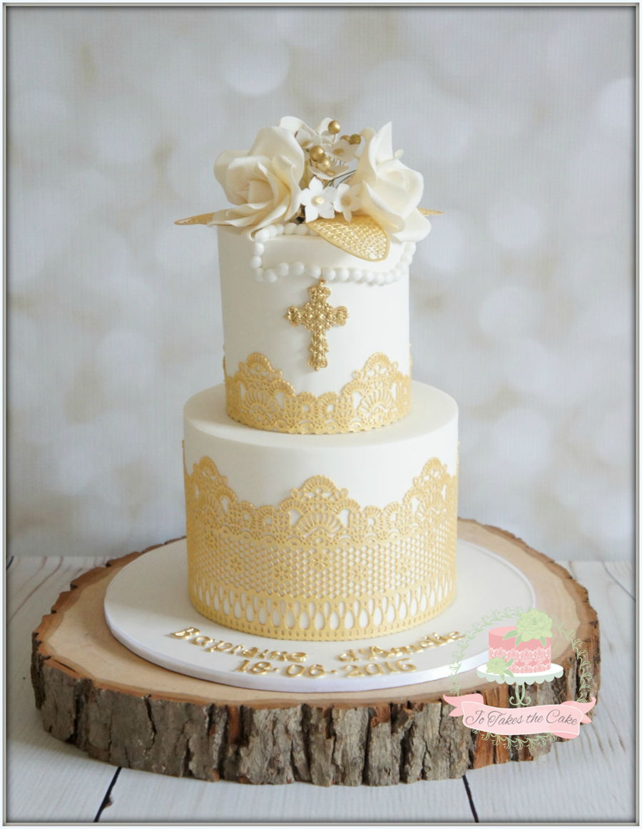 White Gold Baptism on Cake Central