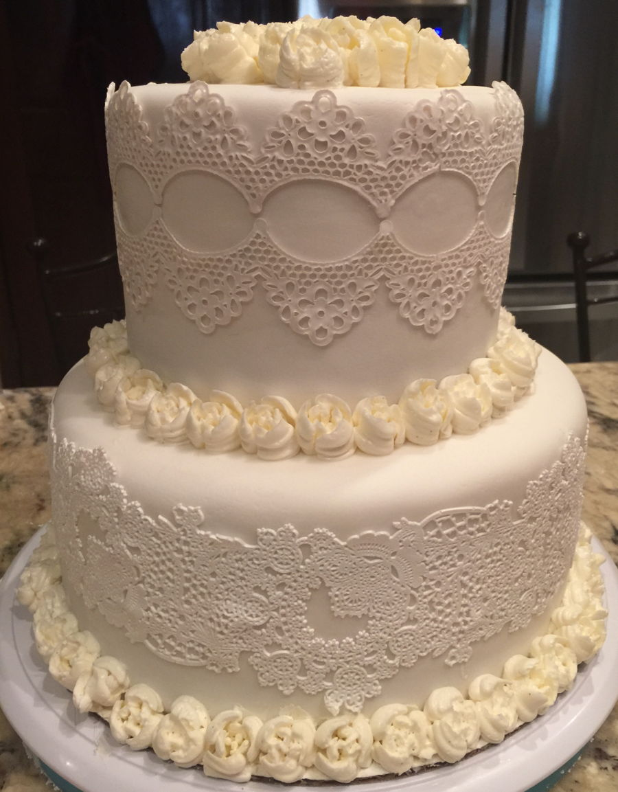 White On White Edible Lace Wedding Cake - CakeCentral.com