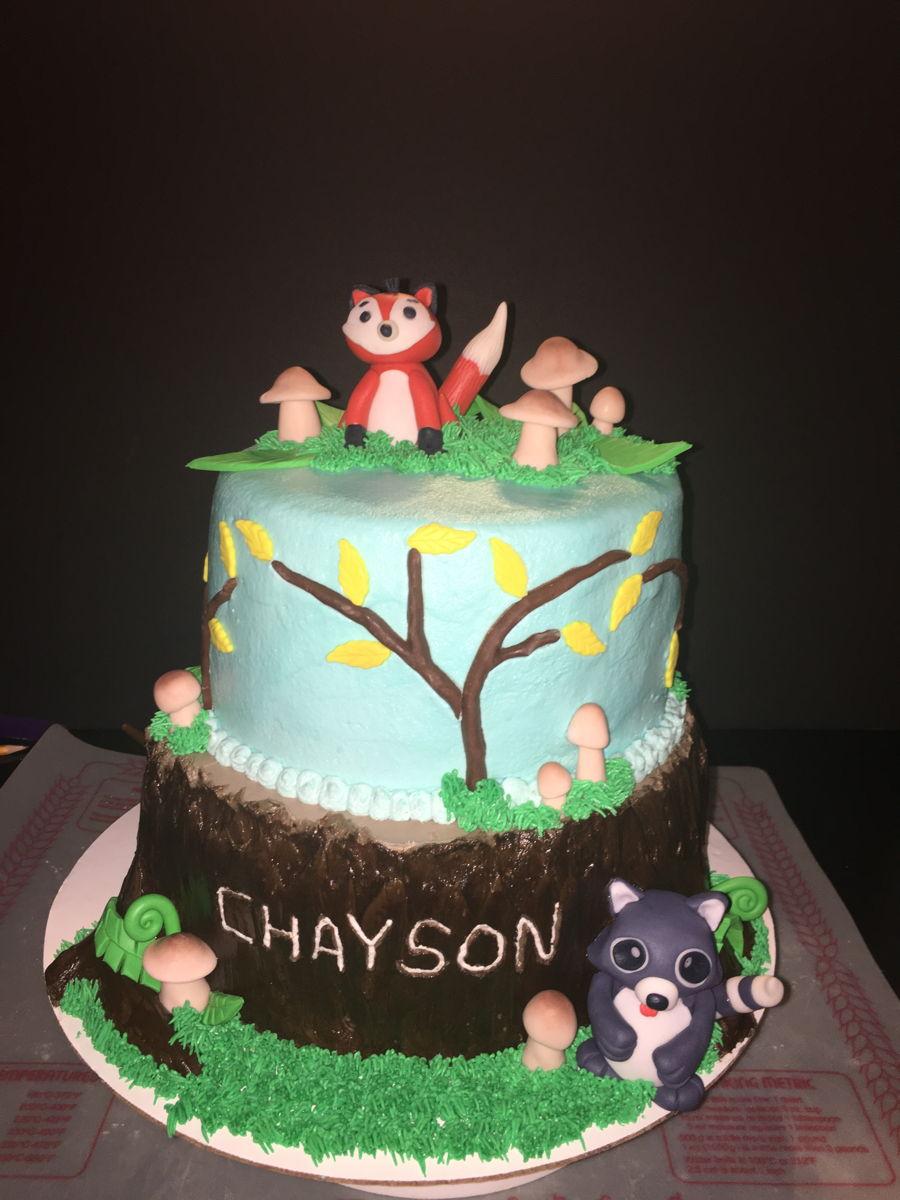 Woodland Animal Baby Cake With Tree Trunk