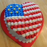 4Th Of July, Heart Flag made for a youth cake auction. Black midnight chocolate cake with buttercream frosting