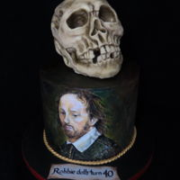 Alas Poor Yorick 40th Cake for my actor/voice trainer son who loves Shakespeare and especially Hamlet. Hence Yorick Skull. Handpainted portrait of...