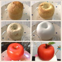 An Apple... A Cake This is the progression of how a mini cake became into a beautiful apple