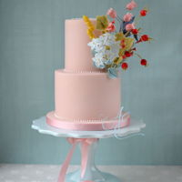 Astrid Astrid: Blush pink Christening cake with a stylised bouquet inspired by the Rifle Paper Co invitations, including poppy seed heads, rosehip...