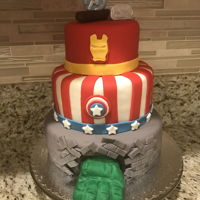 Avengers Cake Three tier avengers cake.