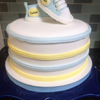 Baby 100 Days Party fondant cake with edible baby shoes