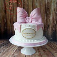 Baby Girl Christening Cake Cute Christening Cake. Bow is handmade using Saracino Pasta Model.