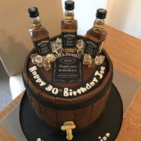 Whiskey Barrel Cake Chocolate fudge barrel - the bottles were real - the ice was made from chopped mints