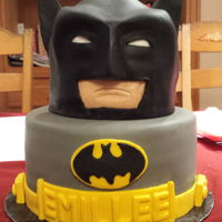 "Batman Birthday Cake 10"" round base with sculpted head topper. Confetti cake with buttercream and fondant."