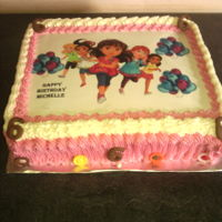 Birthday Cake - Girl Vanilla butter cake with dora and friends image