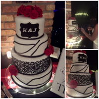 Black And Red Wedding Cake Black and Red Wedding cake with Sugar Lace