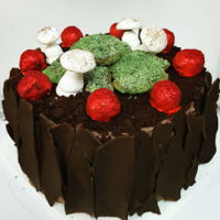 Black Forest Cake Black forest cake decorated to live up to its name. Black forest cake iced with chocolate buttercream and decorated with dark chocolate...