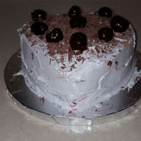 Black Forest Cake Dairy-free chocolate cake, Wilton whipped icing, sweet cherries and chocolate shavings. Hubby's Valentine's Day request