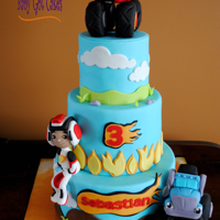 Blaze And The Monster Machines I've done this theme one time before as a two tier. This version is a three tier, 4, 6 & 8, covered in fondant with fondant...