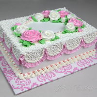 Buttercream Roses Cake Birthday cake for a girl decorated with buttercream whipped frosting. Julia's Exclusive Cakes https://www.facebook.com/...