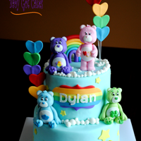 Care Bears It's a 6 & 8 two tier covered in fondant with handmade fondant bears. Thanks for looking!