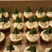 Christmas Tree Cupcakes Candy/chocolate Christmas tree cupcakes with SMBC frosting. And sparkling sugar sprinkles