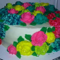 Colorful Buttercream Flowers Colorful buttercream roses and flowers