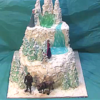Disney's Frozen Or Winter Woodland Cake Disney's Frozen or a winter woodland cake. Topped with evergreen trees, mountains and a waterfall. It requires no specialized cake...