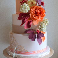 Erica Wedding Cake Inspired by Erica Berry Flowers' beautiful floral displays, decorated with hybrid tea rose, cotinus, scabiosa seed heads, calla...