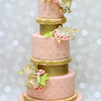 Five Tier Pink And Gold Wedding Cake Five Tier Pink and Gold Wedding Cake