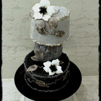 Floral Version Of 50 Shades Of Grey ;) Grey cake with anemones