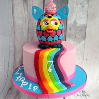 Furby And Rainbow Cake for Olivia who was celebrating her 7th birthday, she loves Furby and rainbow :)