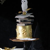 Harry Potter Cake With White Owl This is the birthday cake for my daughter. The owl, the Snitch and the old books on the cake are made from fondant and wafer paper. The...
