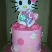 Hello Kitty 8in coconut flavored barrel cake with handmade hello kitty topper