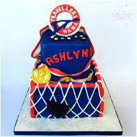 Hockey Cake Gumpaste topper.. fondant accent pieces.. www.facebook.com/whitescustomcakes
