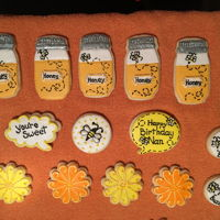 Honey And Bee Cookies These are made with NFSC recipe and decorated with Royal Icing and Luster Dust.