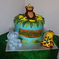 Jungle Themed Cake Jungle themed cake for my son's 1st birthday. 1st attempt at a fondant covered cake.