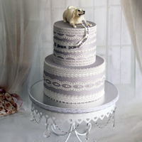 Lace Cake Birthday cake for a beautiful lady, who loves her dog very much. The dog was made out of modeling chocolate. Edible lace. Julia's...