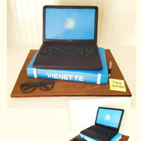 "Laptop & Book Cake All edible cake including the keyboards. Eyeglasses, pen and post it are made from gum paste. ""Happy Birthday"" was written using..."
