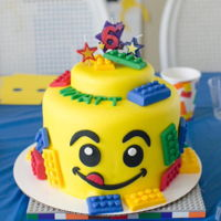 "Lego Cake For 6Th Birthday Party Thought this would be an ""easy"" one - but man oh man, did those legos take up a lot of time! :) Fun cake though! They LOVED it!"