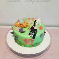 Little Baby Cats Birthday cake with little baby cats playing with butterflies.