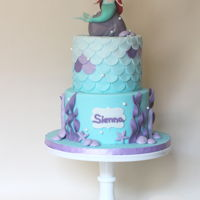 Little Mermaid Birthday Cake Little mermaid themed cake for Sienna who turned 4 and loves Ariel. She had a blast at her birthday party.