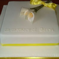 Loving Memory Cake Simple cake with calla lillies.
