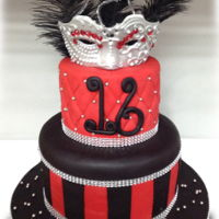Masquerade Cake Bold Red, Black and Silver Masquerade cake adorned with sequins and feathers.