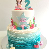 Mermaid Birthday Hand sculpted Mermaid topper. Love all the colors that makes this sweet cake so girly.