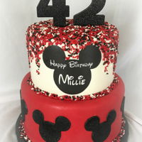 "Mickey Mouse 6"" and 8""Edible glitter is on the bottom tier Mickey Mouse silhouettes. Edible image is on the top tier.The numbers are candles..."