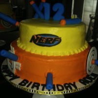 Nerf Birthday Cake chocolate top tier, vanilla bottom tier