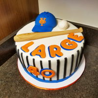 Ny Mets Baseball NY Mets cake with gumpaste and fondant pieces. Cake is lemon, filled with lemon buttercream and lemon-flavored white chocolate ganache.