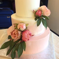 Pastel Wedding Cake Pastel pink and white wedding cake.